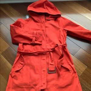 J.Crew trench coat flame red petite 2